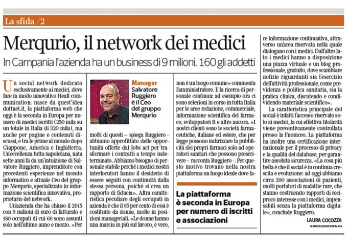 Intervista a Salvatore Ruggiero, in Corriere del Mezzogiorno